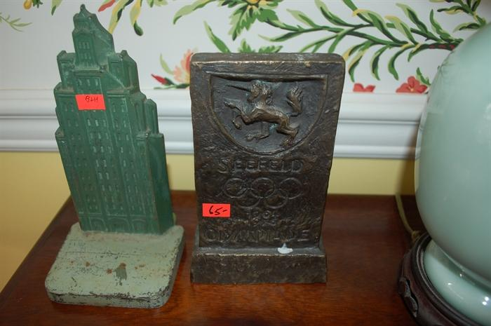 Bradley & Hubbard Art Deco Skyscraper Cast Iron Doorstop and a Seefeld Olympiade 1964-1976