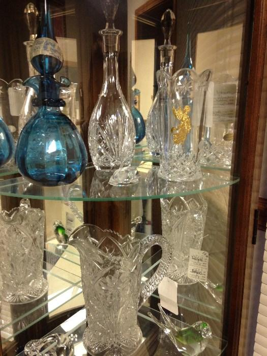 Fenton blue glass, Waterford Crystal decanter crystal