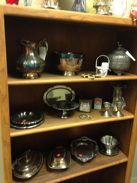 Silver and silver plated, bowls, servers, candle holders, butter servers, candy dishes