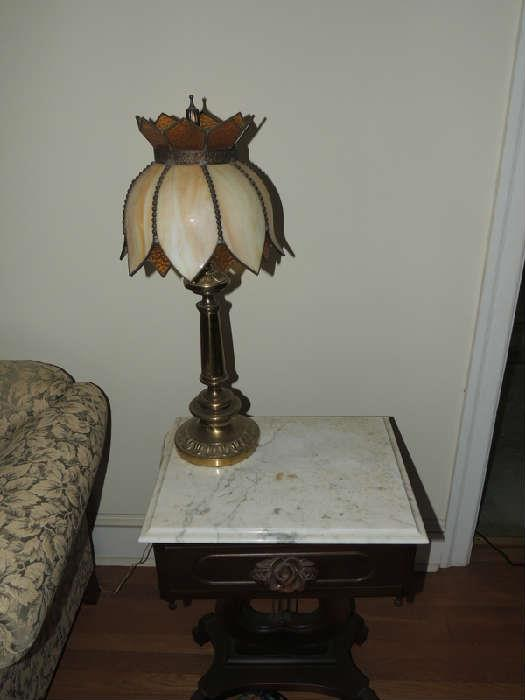antique stained glass lamp, victorian marble top table