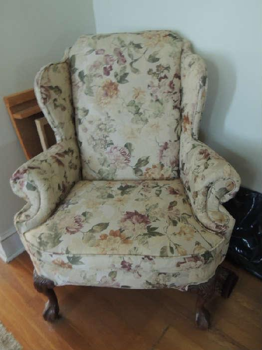 pair of wing back chairs. clean and lightly used