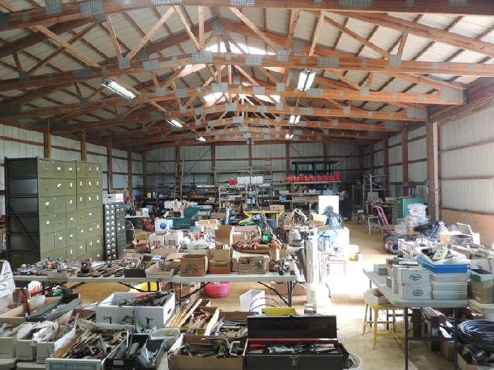 3000 sq. ft. barn/workshop packed with tools, workbench, electrical, plumbing, agricultural..too much to list. more outside!