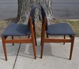 Arne Vodder Chairs w great adjustable backs, floating seats & brass accents