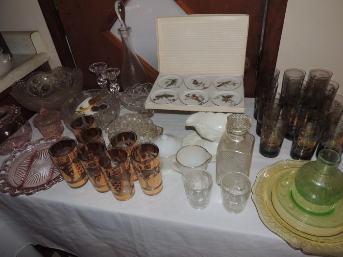 bar ware, depression glass, milk glass
