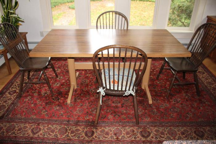 Modern table and windsor chairs