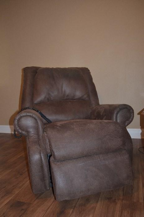 Brown macro-suede lift chair