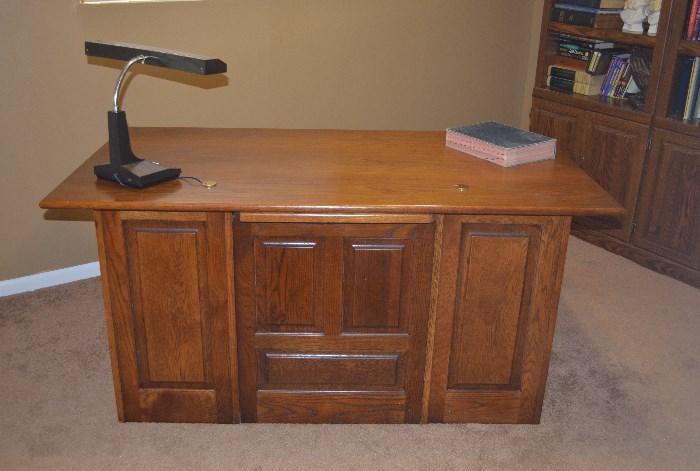 large oak panel desk