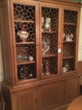 Danish china cabinet has matching table and server
