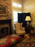 Gorgeous upholstered ottoman; 1 of 2 matching wingback chairs; Asian screen; 1 of 2 matching side tables