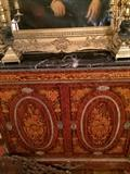 Exquisite antique marble top chest; pair of brass candelabras