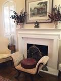 """""""Irish Birdcatcher"""" (race horse) framed art, mantel clock,  1 of 2 lovely vases, antique bench"""