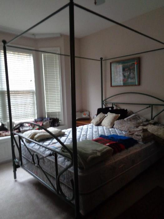 metal canopy bed, queen
