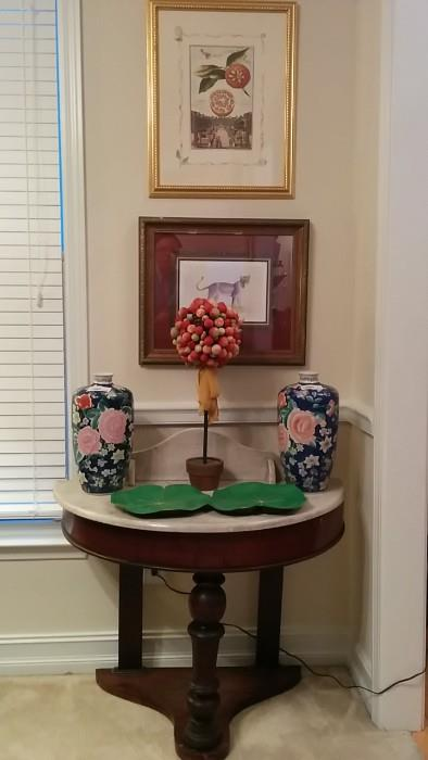 Antique English marble-topped foyer table, twin Asian vases, Christmas homespun thang and weird green leaf-shaped tray