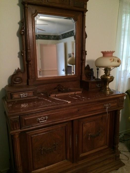 Exceptional 1700's antique dresser/ marble top