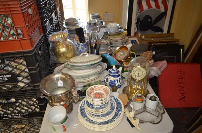 Assorted items including English china, mantle clock, silverplate wine bucket, boxed silverplate shakers, countless misc porcelain pieces (art shown back right is not included)