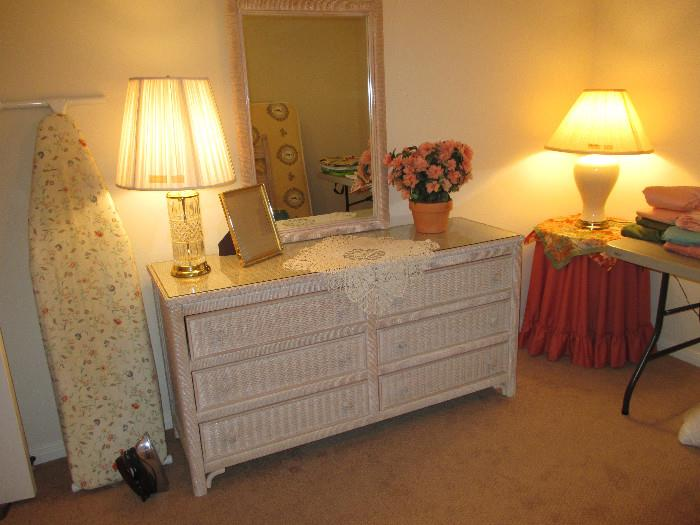 Very Nice Wicker Dresser And Other Items