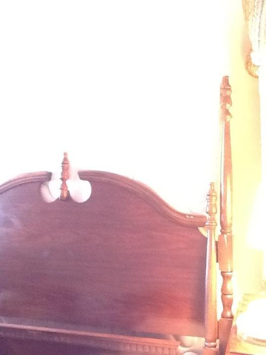 Mahogany FULL bed w/ like new mattress & box spring