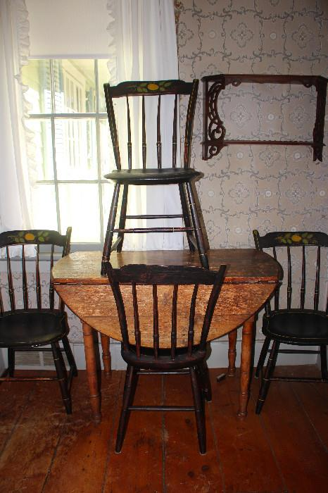 Kitchen Table & 4 Matching Tole Painted Chairs