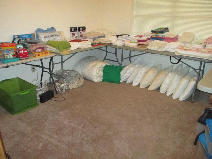 Linens, Pillows, Queen Size Padded Cover, Tablecloths etc
