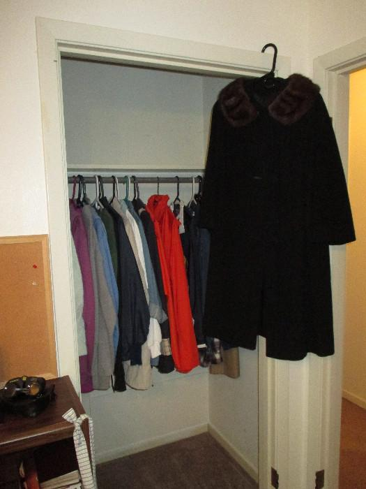 Coats In The Coat Closet Plus This Really Nice Black Wool Coat With A Fur Fiber Collar
