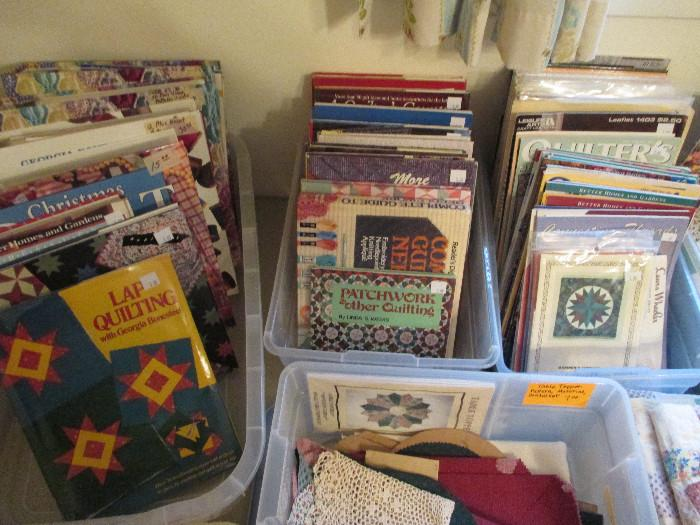 In The Tub On The Left Are Binders With Quilting Magazines, Tips Or Patterns.  One Binder Has 12 Quilt Patterns and Another Has Over 50 Uncut Patterns!