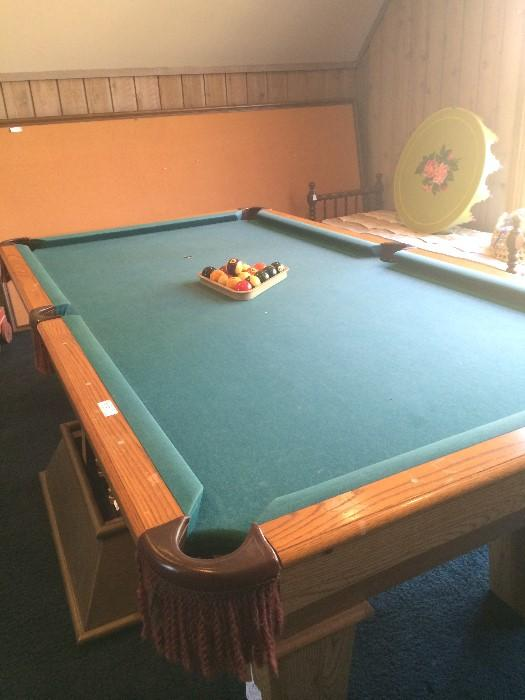 Pool table with extra large 3 bulletin boards in the background