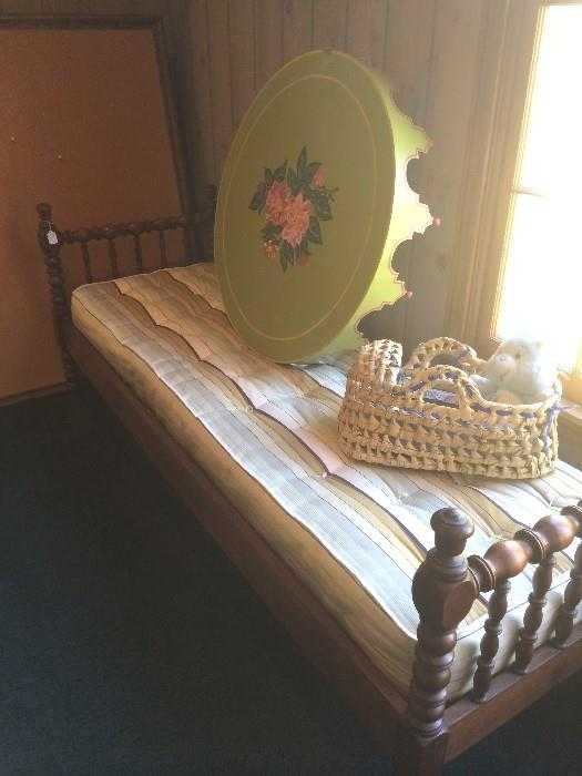 Antique day bed; hand painted canopy