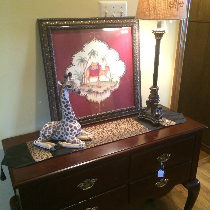 Queen Anne style file cabinet (top opens); giraffe figure; 1of the many runners, lamps & framed pictures