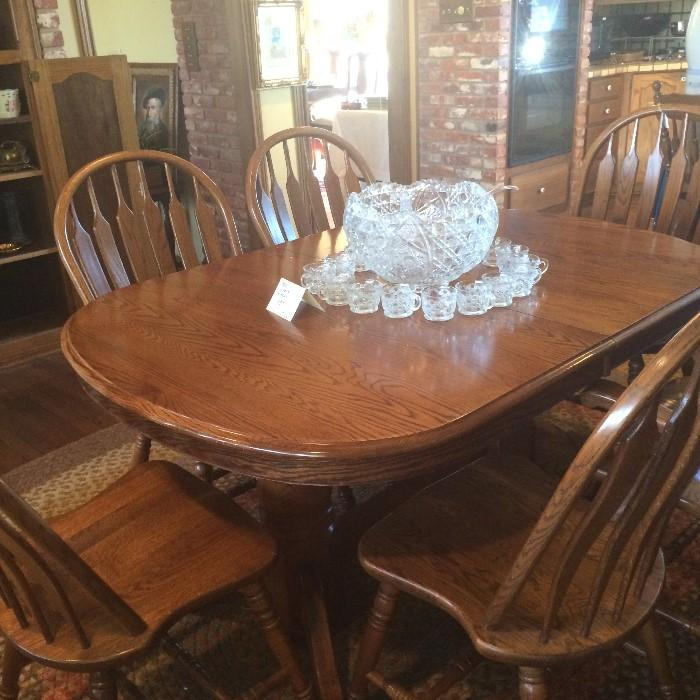 Breakfast table & 6 chairs; punch bowl & cups