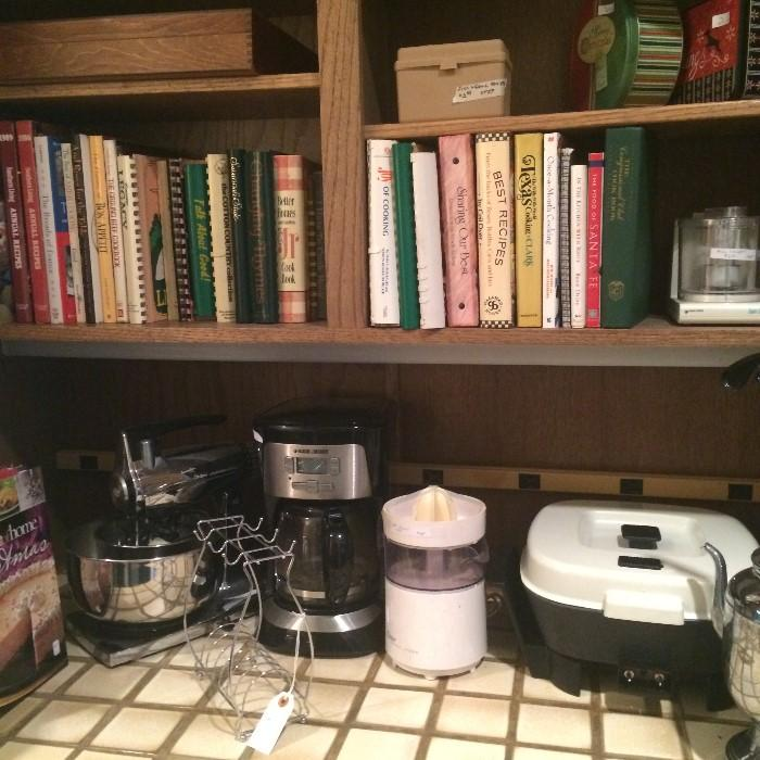 Many cookbooks & small appliances