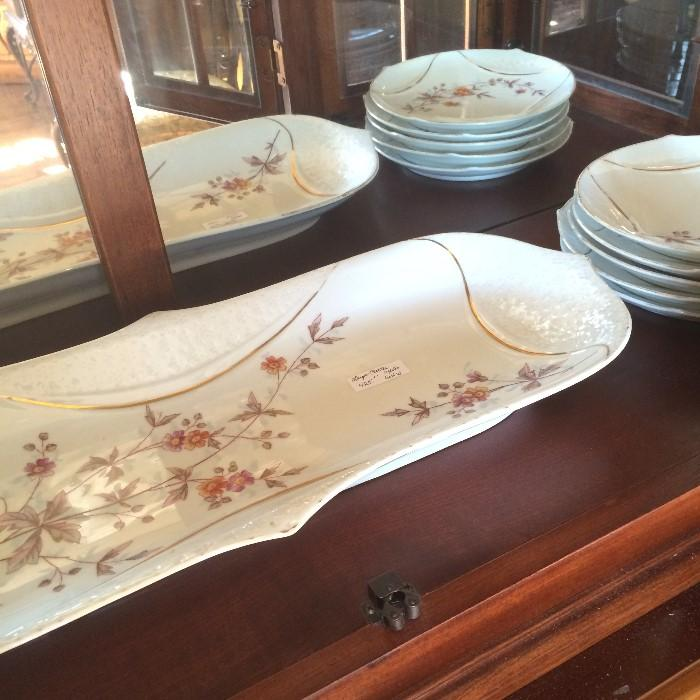 Exceptional antique fish platter & 10 matching plates