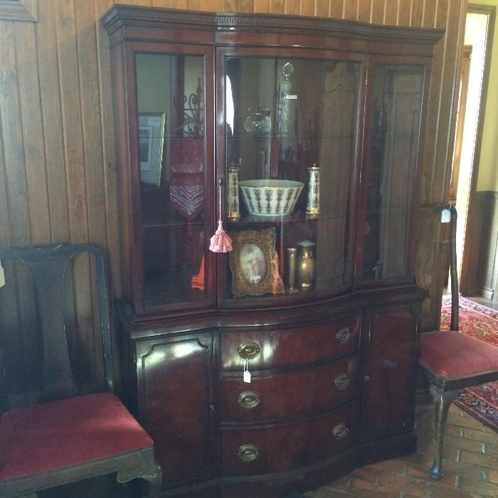 Duncan Phyfe china cabinet; 2 of 4 matching Queen Anne chairs