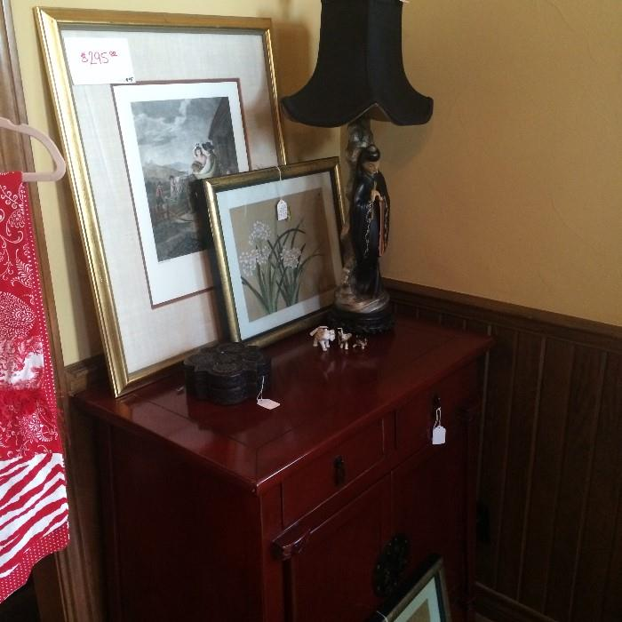 Oriental chest, lamp, & pictures
