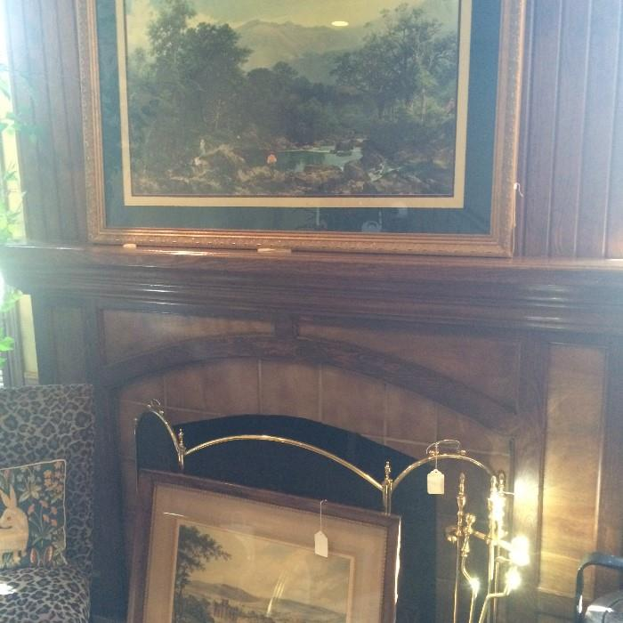 Great variety of framed art; fireplace screen & tools