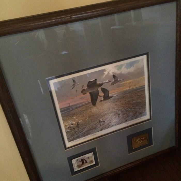 Collector's duck print with stamps framed art
