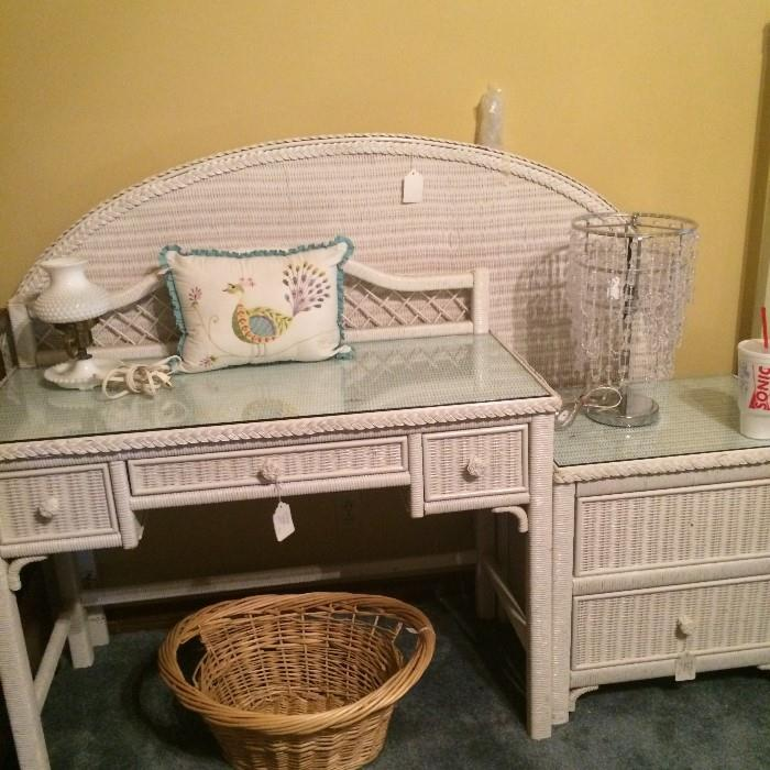 White wicker full headboard, desk, & nightstand