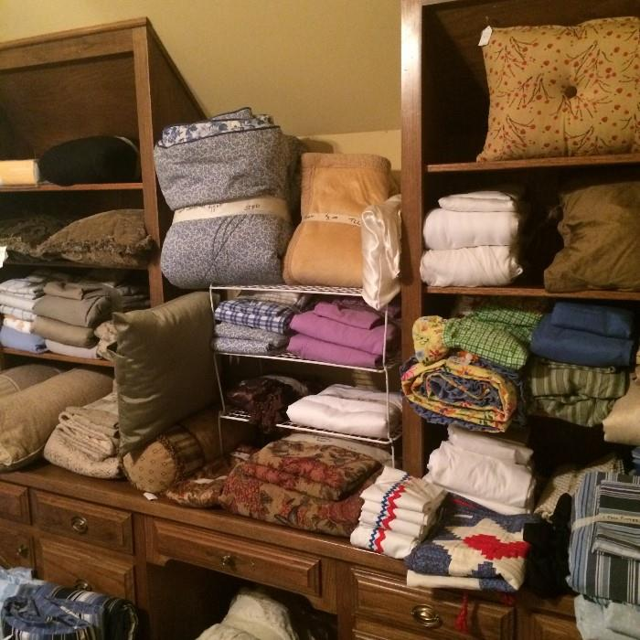 Large variety of sheets, towels, bed comforter set, & pillows