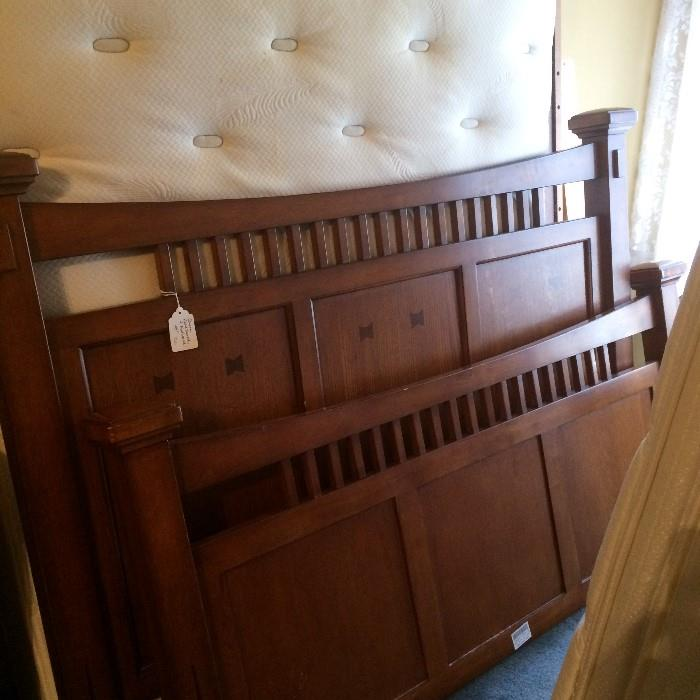 Queen bed has matching desk & dresser with mirror.
