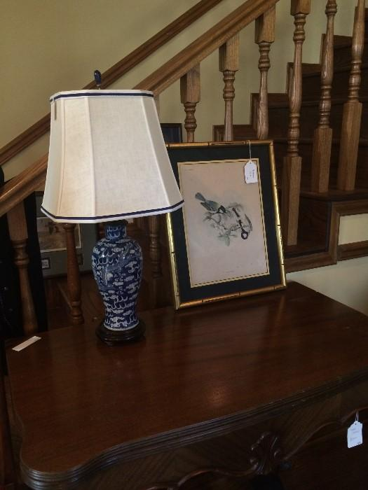 Side table (opens to double surface); 1 of several decorative lamps