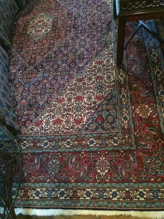 Large Oriental rug with burgundy & aqua