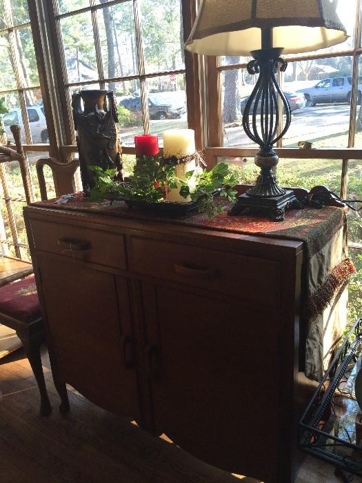 Vintage buffet; 1 of the many lamps; 1 of custom made runners