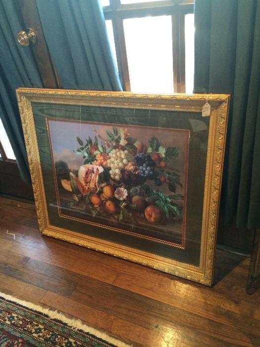 Beautiful fruit & floral framed art