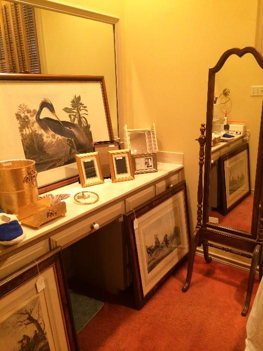 Louisiana crane framed art; more frames; other framed art work; floor mirror