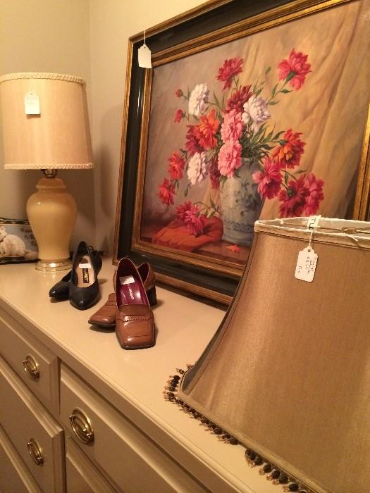 Lamp, shade, shoes, & framed art