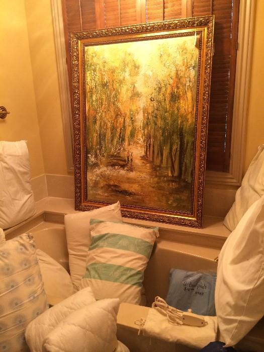 Framed art; variety of pillows