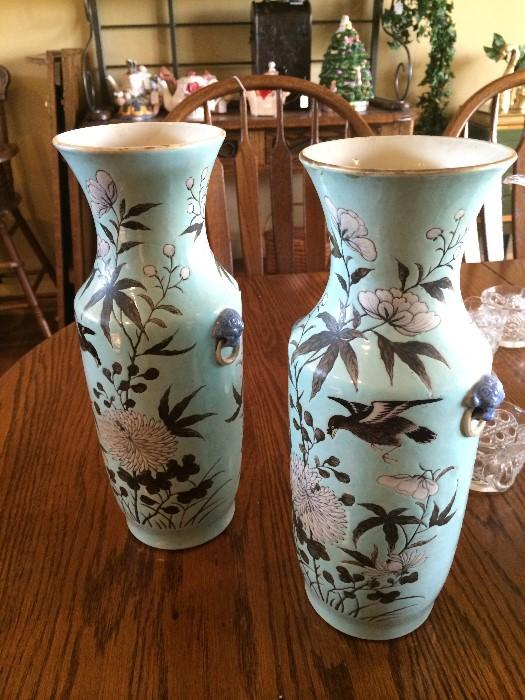 Circa 1850 porcelain vases (with small lion handles)