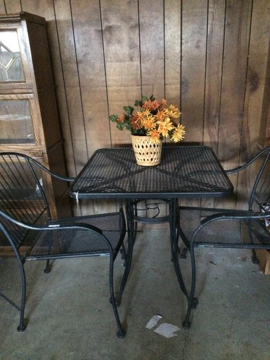 Black patio table & 2 chairs set