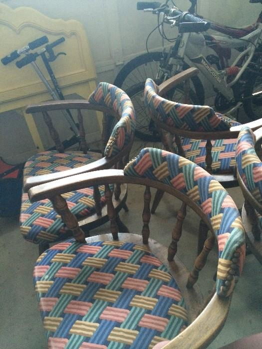 4 matching wood & upholstered chairs