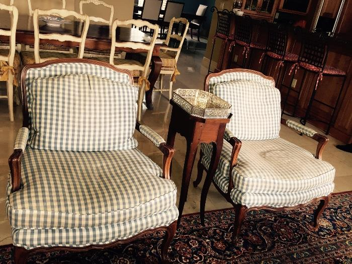 Pair Country French Arm Chairs