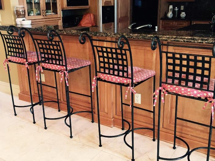 (4) Cast Iron Bar Stools (with Cushions)
